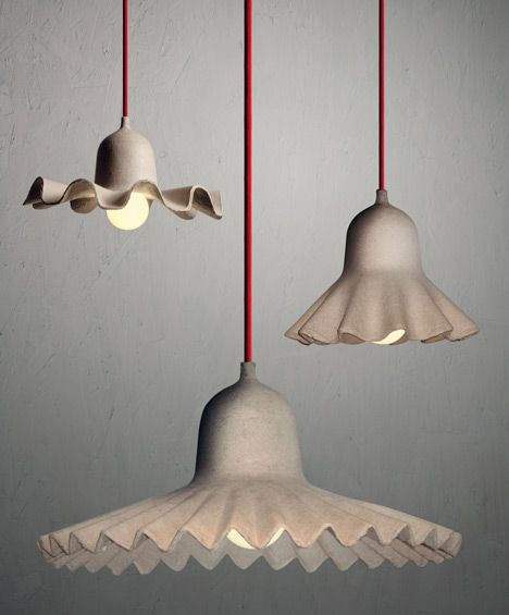 Egg of Columbus pendant lights by Valentina Carretta for Seletti. Made out of the same stuff as egg boxes.