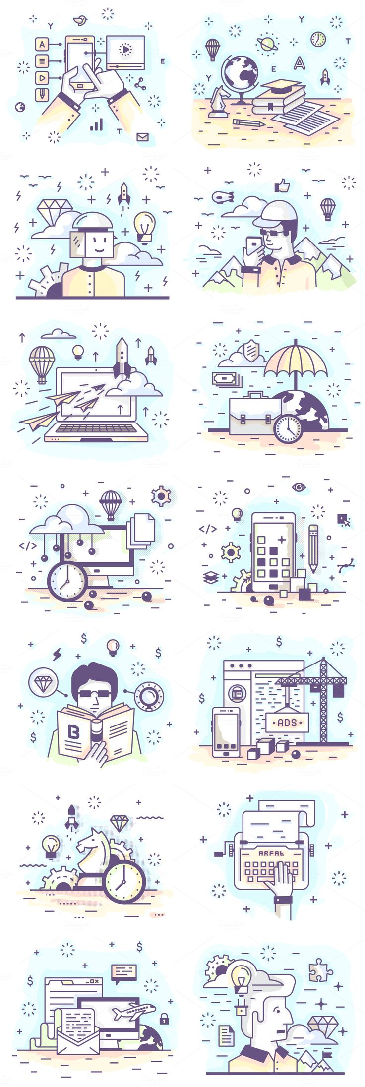 How adorable are these 28 Mini Illustrations? Line vector illustrations, illustration,	banner,	concept,	web, business,	design,	creative,	education, technology,	science,	startup,	writing, skill development,	seo,	management, reading,	strategy,	game,	support, development,	video,	applications, programming,	travel,	mobile,	apps, trade,	finance,	set,	line,	flat