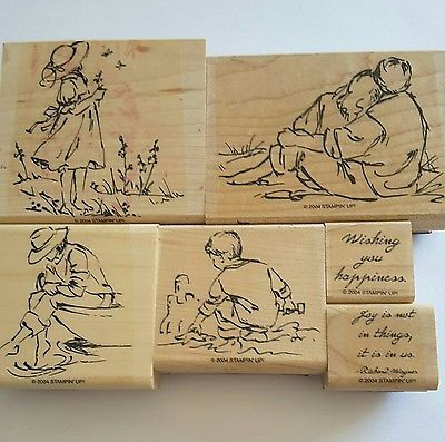 Stampin-039-Up-SUMMER-BY-THE-SEA-6-Mounted-Rubber-Stamps-Retired-Couples-Child