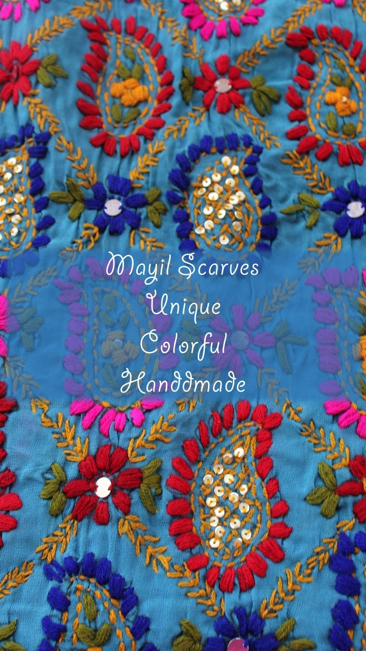 Mayil scarves are unique colorful and handmade. Wrap yourself in silk, chiffon, georgette, cotton, tie-dyed, beaded, flowered, block printed, embroidered, sequined, tasseled, bejeweled scarves and more.
