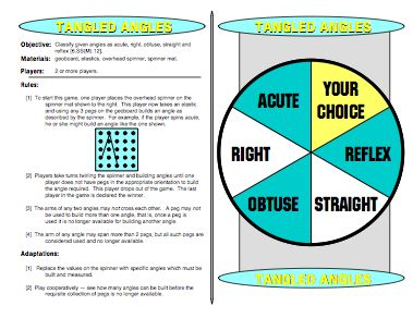 Tangled Angles - Math Angle Games - Classify given angles as acute, right, obtuse, straight and reflex. Get all 42 Printable Math Games on TPT: http://www.teacherspayteachers.com/Product/MathFileFolderGames-42-Printable-Math-Games-for-Middle-School-Students-270708
