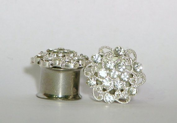 Crystal Cluster Plugs 0 Gauge 7/16 1/2 9/16 5/8 Inch 10mm 11mm 13mm 14mm 16mm on Etsy, $45.00