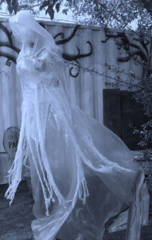 Halloween ghost yard decoration make of packing tape