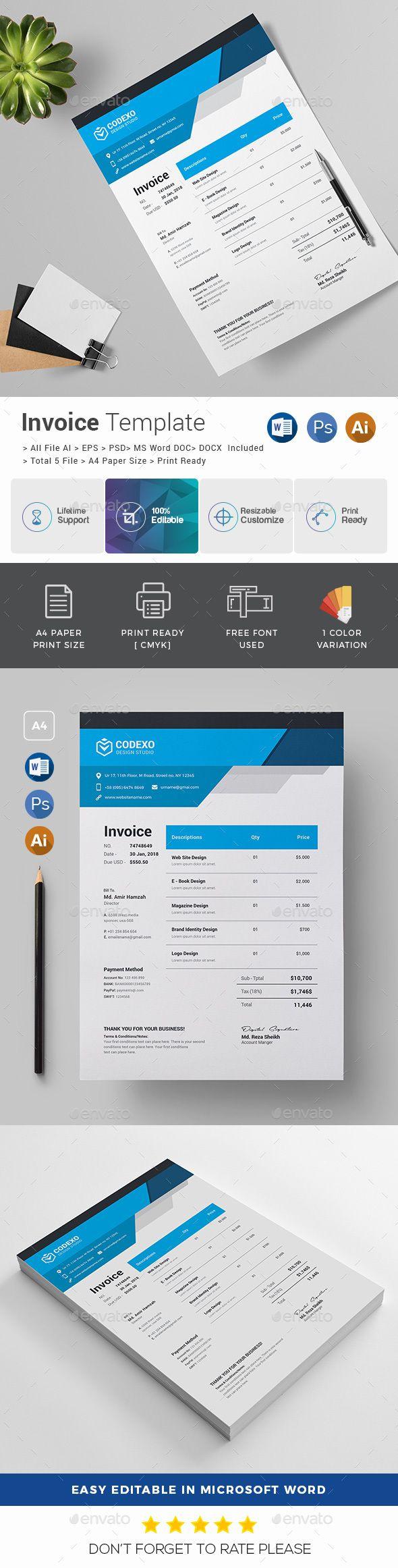 Corporate Invoice Template PSD, Vector EPS, AI Illustrator, MS Word