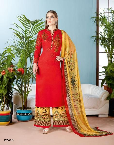 Cotton Kurta With Palazzo Floral Embroidery Partywear Palazzo Salwar SuitShop now the #shoponlinepalazzosuits #suitswithpalazzo #palazzosuits #buypalazzosuitsforwomen's only at Ladyindia.com https://ladyindia.com/collections/palazzo-suits