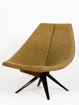 Gordon Andrews Early Rondo Chair designed 1956, with cast aluminium splayed base, upholstered in woven brown fabric