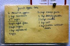Smitten Kitchen Apple Cake- The recipe Deb's mom passed to her, in kind of perfect cursive.