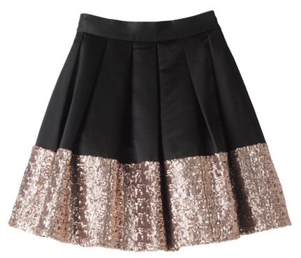 sequin trim skirt in black and gold