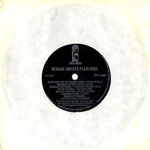 "Island Records Reggae Greats - Flexi 1985 UK 7"" vinyl LYN15897: ISLAND RECORDS Reggae Greats (1985 UK 7 7-track flexi-disc single featuring…"