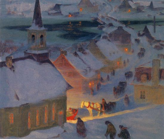 Christmas Mass - Clarence Gagnon Follow the biggest painting board on Pinterest: www.pinterest.com/atelierbeauvoir
