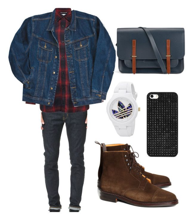 """Prepare for FALL - Men's Double Collar Inspired"" by langweilig-ei on Polyvore featuring AG Adriano Goldschmied, Yves Saint Laurent, Wrangler, Brooks Brothers, The Cambridge Satchel Company, adidas and BaubleBar"