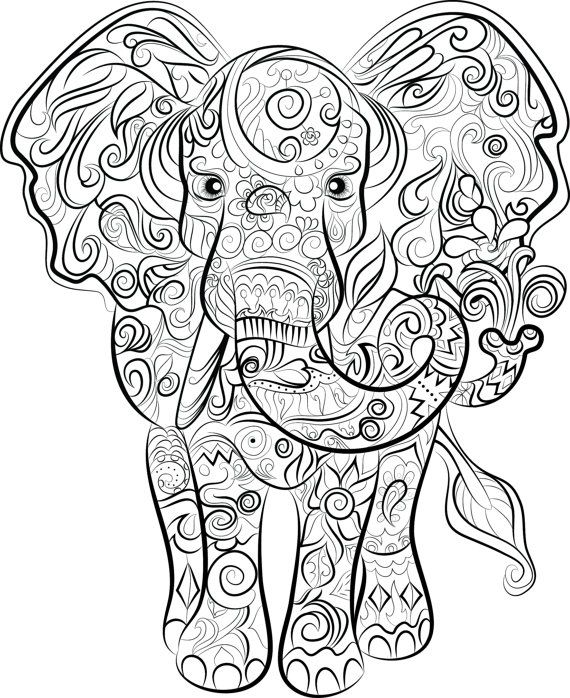 17 best images about coloring pages elephant on