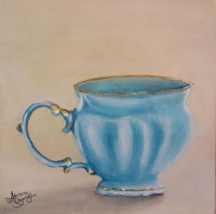Teacup Series: Skye & Gold Oil on Canvas Panel 254 X 254mm Artist: Adriana Uzunoglu
