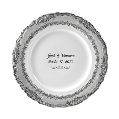 Vanessa  Personalized 10.5u0027u0027 Porcelain Dinner Plate $52  sc 1 st  Pinterest & 11 best Personalized Wedding Plates images on Pinterest | China ...