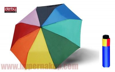 Dáždnik DERBY  Mini Rainbow - unisex skladací mechanický dúhový