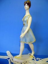 Vintage Porcelain Hungarian Hollohaza ART DECO LADY IN BLUE Handpainted Stamped