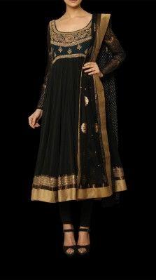 A black color suit in soft nylon net by Ritu Kumar