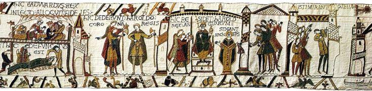 cometa Halley en una de sus apariciones, en el año 1066, según el Tapiz de Bayeux.