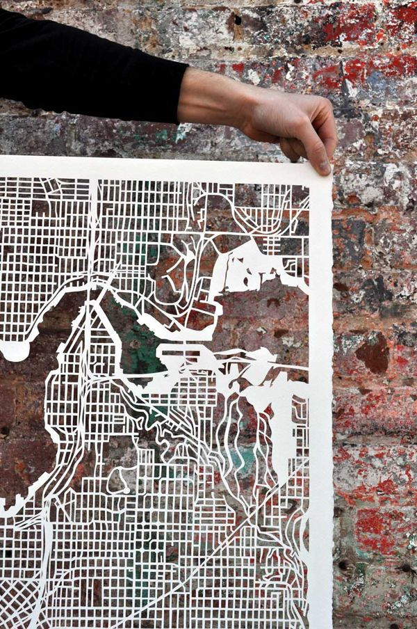 seattle Hand cut Paper Maps by Karen Ou0027Leary