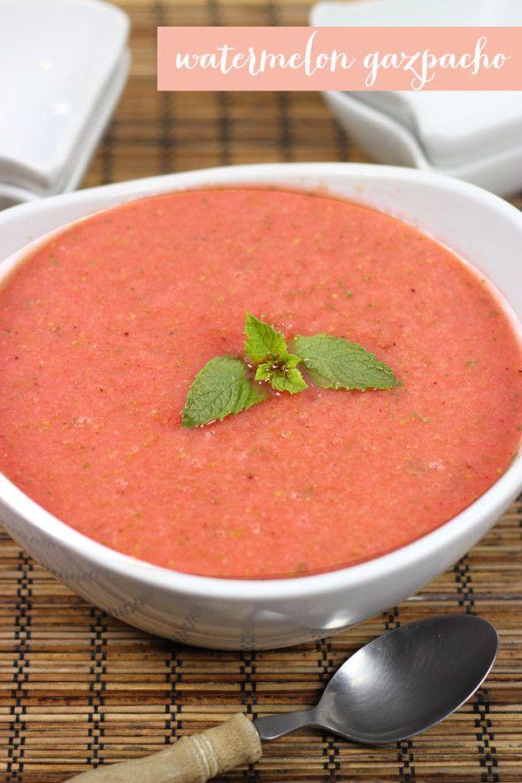 Chilled Watermelon Gazpacho #summer #watermelon