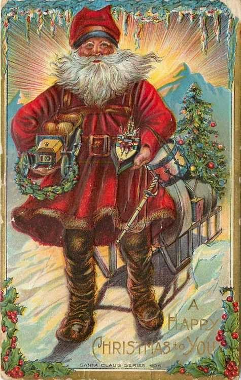 Santa Claus Blue Hatband Brown Trim Snowboot North Pole Sleigh Icicle Border Amp | eBay
