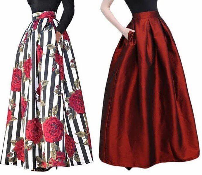 80f094f14 Falda larga con pliegues | faldas | Faldas largas, Faldas de fiesta ...