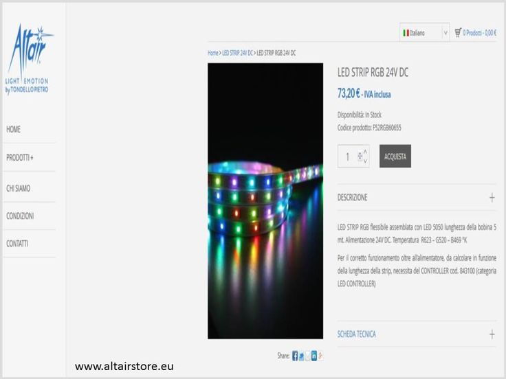 LED STRIPS ALTAIR STORE:E-COMMERCE PER SISTEMI DI ILLUMINAZIONE A LED / E-COMMERCE SYSTEMS LED LIGHTING WWW.ALTAIRSTORE.EU