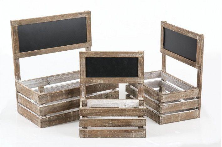 Set de 3 #jardineras con pizarra en madera decapada. Tu pequeño #huerto en casa, con mucho estilo. #IdeasParaDecorar con #Merkamueble