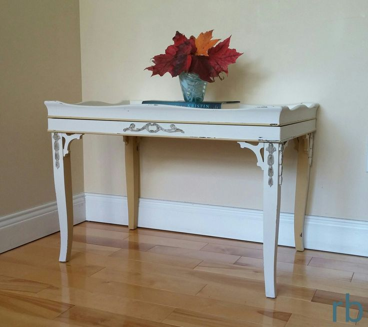 Glass tray top antique coffee table. Fusion mineral paint. Chippy paint look! rb