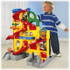 Love, love, love this.  I have toddler boys that will play with this for hours.  They put everything down this.  Matchbox cars do fit down the ramps.