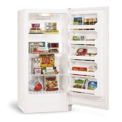 Frigidaire 11.2 Cu. Ft. Upright Freezer - 12.1 cu. ft. upright freezer. Adjustable temperature control. 3 fixed wire freezer shelves. Frost-Free operation removes the need for defrosting. Bright interior lighting makes it easy to find stored items.  #Frigidaire #Major_Appliances