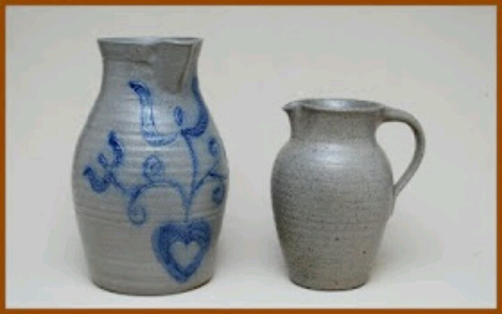 Salt-glazed ware came to dominate the pottery trade during the 19th century.  These examples are modern interpretations made by David Farrell of Westmoore Pottery. Salt-glazed ware was often fired green and plain, & any embellishment that might occur was a result of the effects of the wood fire and the occasional kiln drip. Sometimes potters would decorate their pitchers and other utilitarian items with designs in cobalt oxide brushed on before firing. Cobalt oxide retains its blue color at…