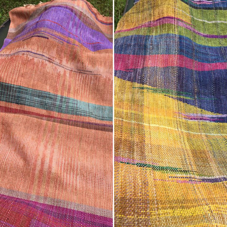 Bengala dyed warps with colourful weaving  By A Churchill www.saorisaltspring.com