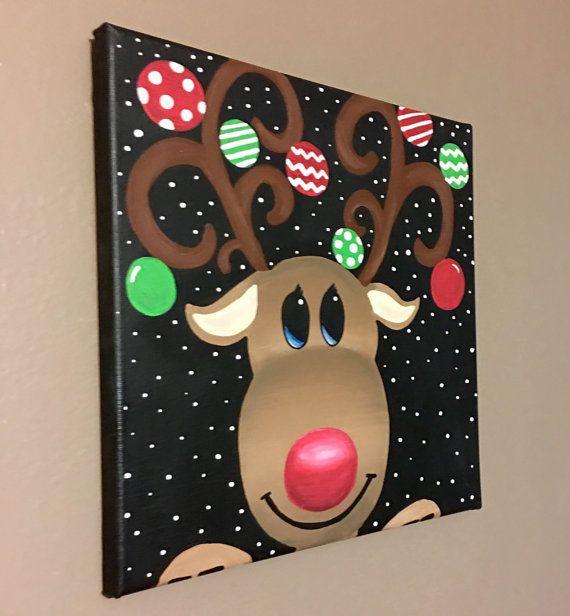 Décor de toile Noël renne par craftsbydaniellelee sur Etsy