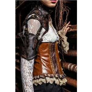 Steampunk Cosplay Mono-Sleeve and Neck Protector, Leather