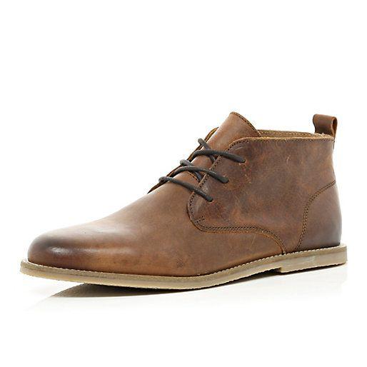 River Island Brown leather chukka boots £50 (277073)