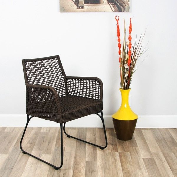 Industrial Chic Indoor/ Outdoor Double-braid Polyester Regatta Rope Square Weave Arm Lounge Chair