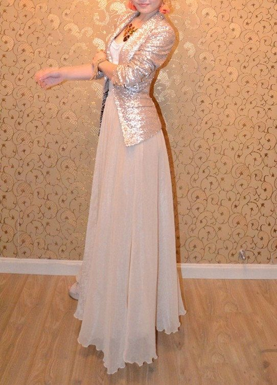 women's gold nude silk Chiffon 8 meters of skirt by colorfulday01, $35.99