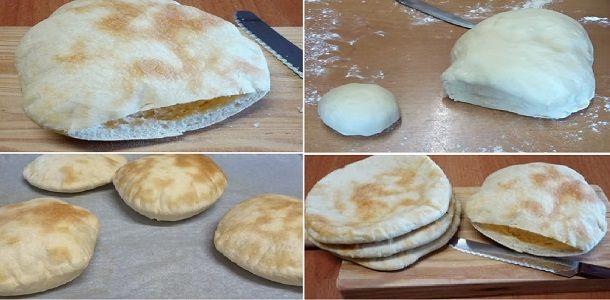 Así como queda el PAN DE PITA, hueco por dentro, recién horneado y con un relleno adecuado, se convierte en un manjar de dioses. | Receitas Soberanas