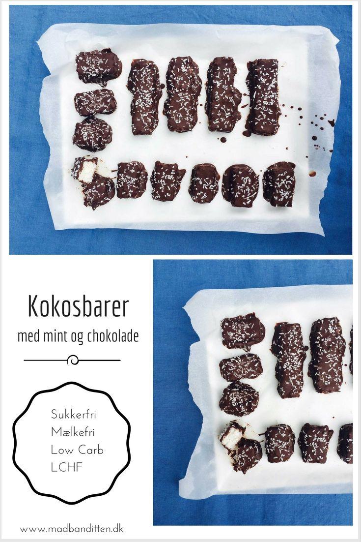 Kokosbarer à la Bounty med mint og chokolade. Lækreste dessert med få kulhydrater. Sukkerfri, mælkefri, low carb og LCHF --> Madbanditten.dk