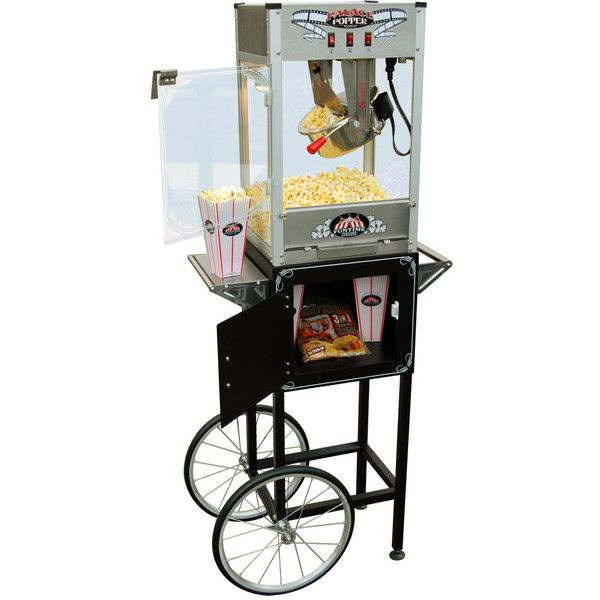 FunTime Palace Popper 8oz Hot Oil Popcorn Machine with Cart ($293) ❤ liked on Polyvore featuring home, kitchen & dining, small appliances, black, air popcorn popper, pop-corn machine, pop-corn maker, wheeled storage cart and black popcorn machine