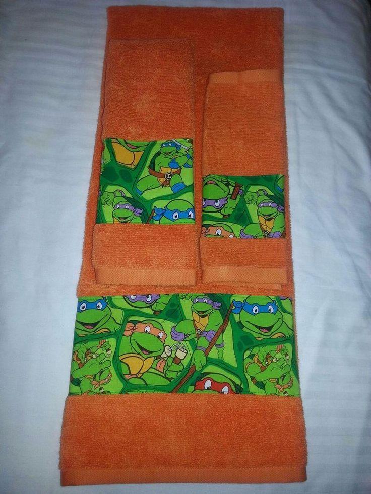 Teenage Mutant Ninja Turtle Orange Towel Sets Bath & Hand Towel and Wash Cloth #TeenageMutantNinjaTurtles