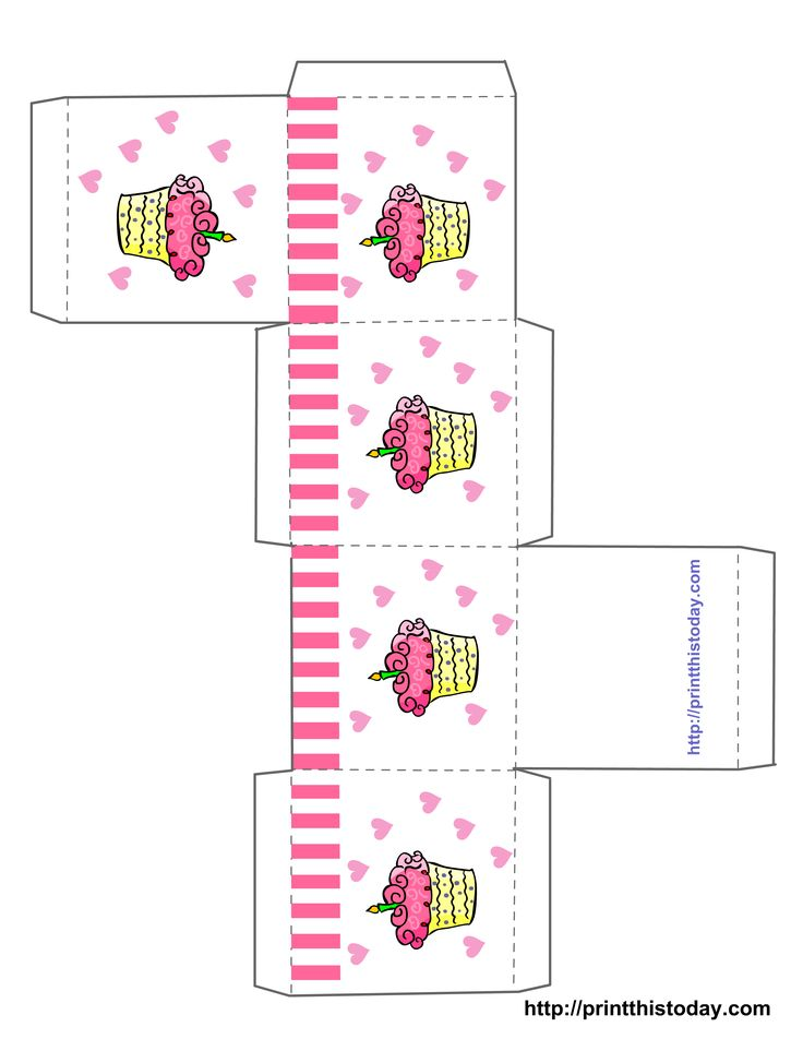 cupcake boxes template printable | Free Printable Birthday Favor Boxes (Templates) | Print This Today