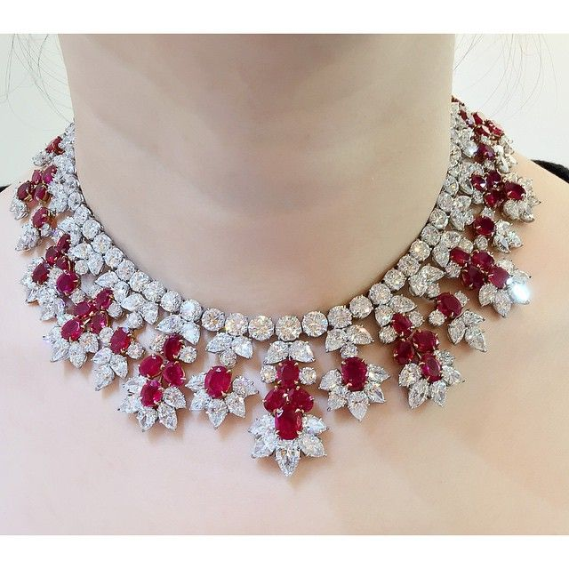 A Burmese ruby and diamond necklace by @harrywinston. Available at Christie's Hong Kong Magnificent Jewels Sale on June 2, 2015 #ChristiesJewels #harrywinstonnecklace #rubynecklace