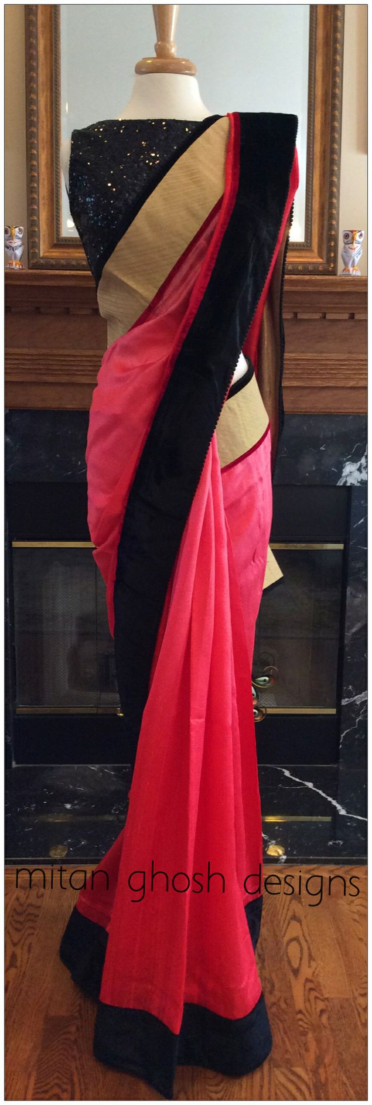 Shaded raw silk saree with velvet blouse piece