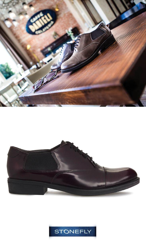 La #francesina è un super classico per l'autunno. Clyde è la proposta di #Stonefly in versione contemporanea: in vernice e con fasce elasticizzate sui lati. #shoes #scarpe #stringate