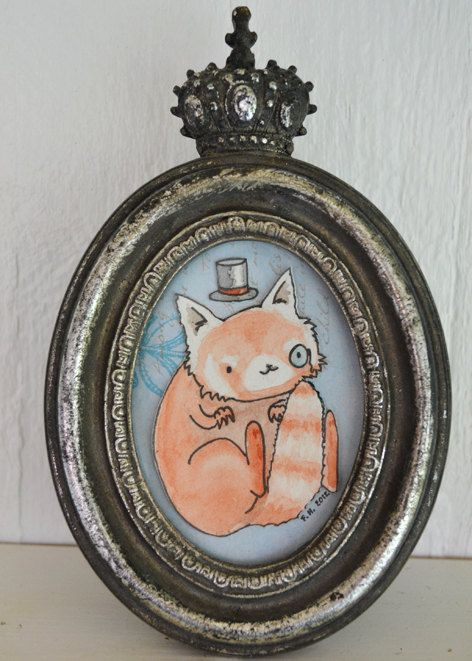 A red panda from the Etsy shop. Watercolor illustration cut out in a cute little crown frame.