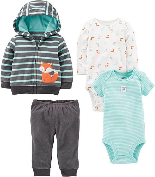 036395672b90 Amazon.com: Simple Joys by Carter's Baby Boys' 4-Piece Fleece Jacket Set,  Navy/Turquoise Fox, Newborn: Clothing