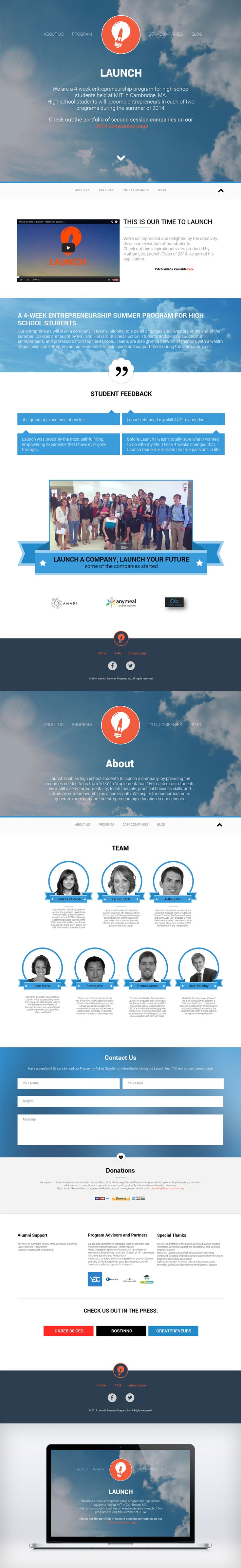 website design for Launch company