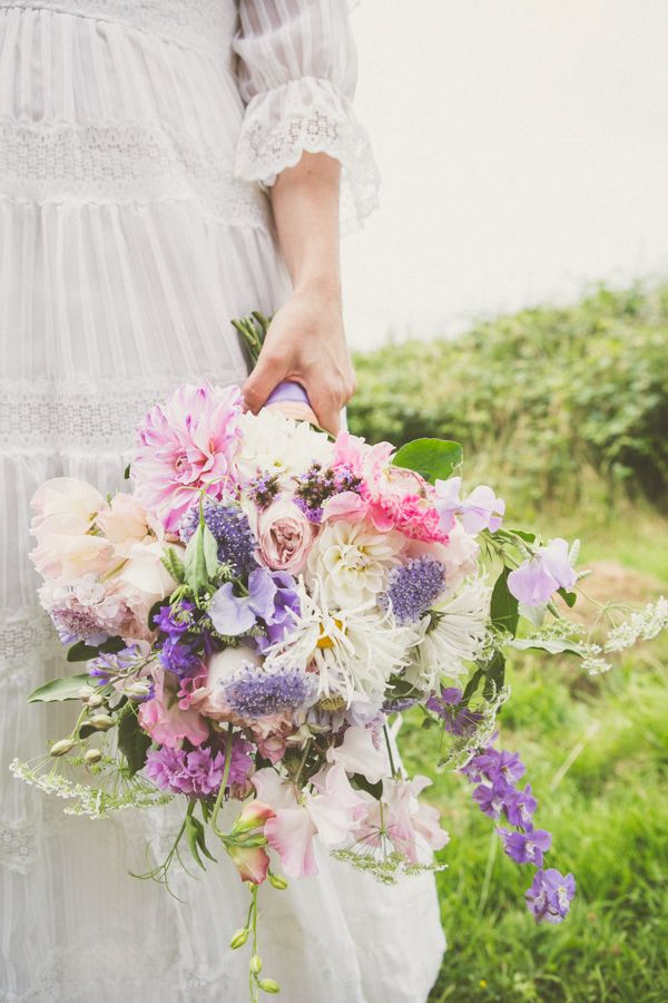 Bridal Bouquet by Vervain, from the 'Church' section on the Vervain website  www.vervainflower... scabious dahlia roses ammi wild carrot cosmos larkspur wedding flowers vintage ribbon wild foliage white flowers floristry natural flowers pink floweers purple flowers pastel coloured flowers lilac flowers David Austin Roses 'Kiera' India Hurst freelance florist